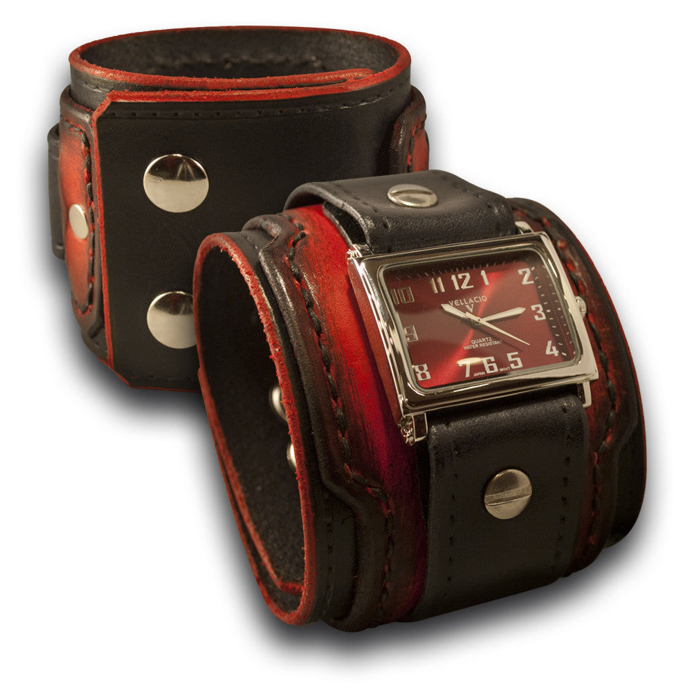 Black & Scarlet Drake Layered Leather Cuff Watch with Snaps-Leather Cuff Watches-Rockstar Leatherworks™