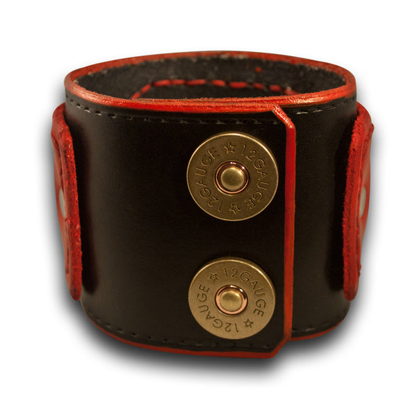 Black & Red Drake Layered Leather Cuff Watch with Shotgun Shell Snaps