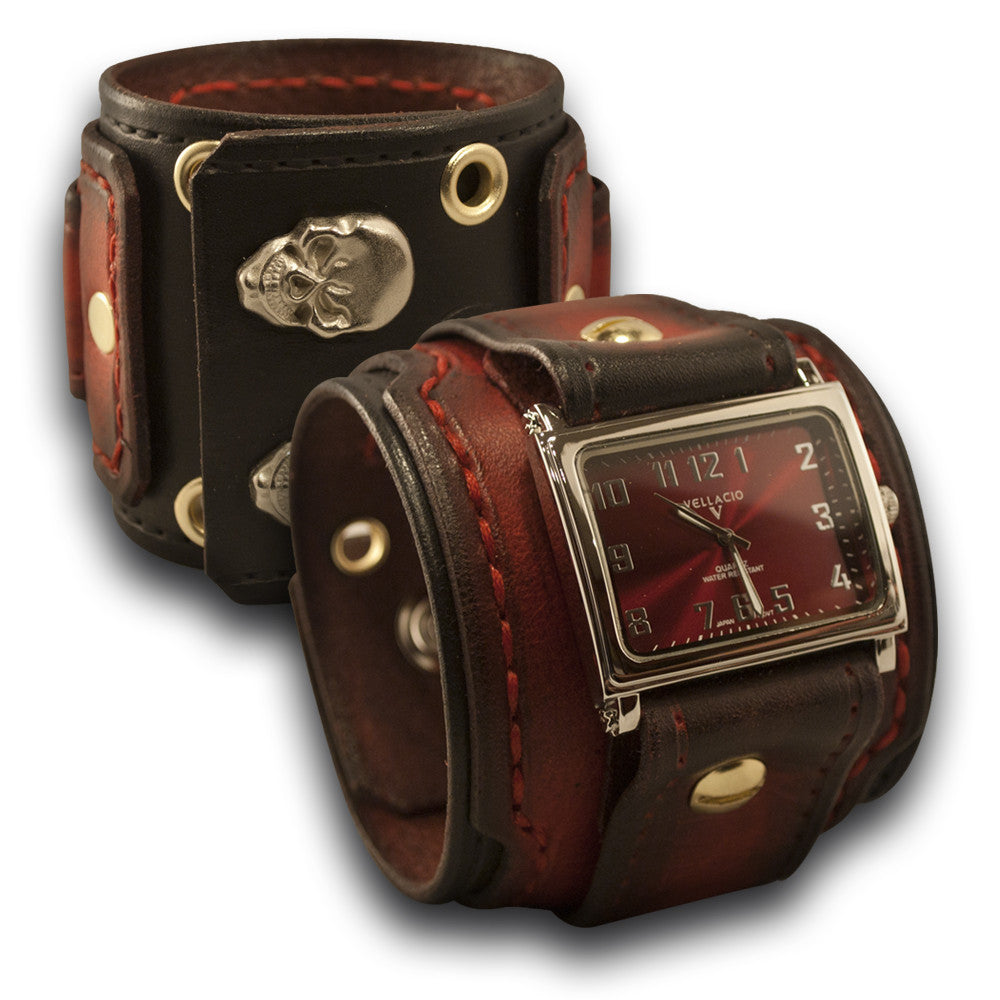 Red & Black Drake Leather Cuff Watch with Skull Snaps & Eyelets-Leather Cuff Watches-Rockstar Leatherworks™