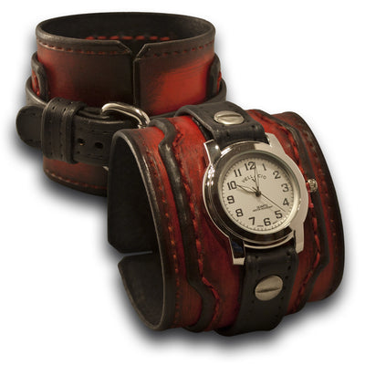 Drake Leather Cuff Watch in Black & Scarlet with Stitched Cuff-Leather Cuff Watches-Rockstar Leatherworks™
