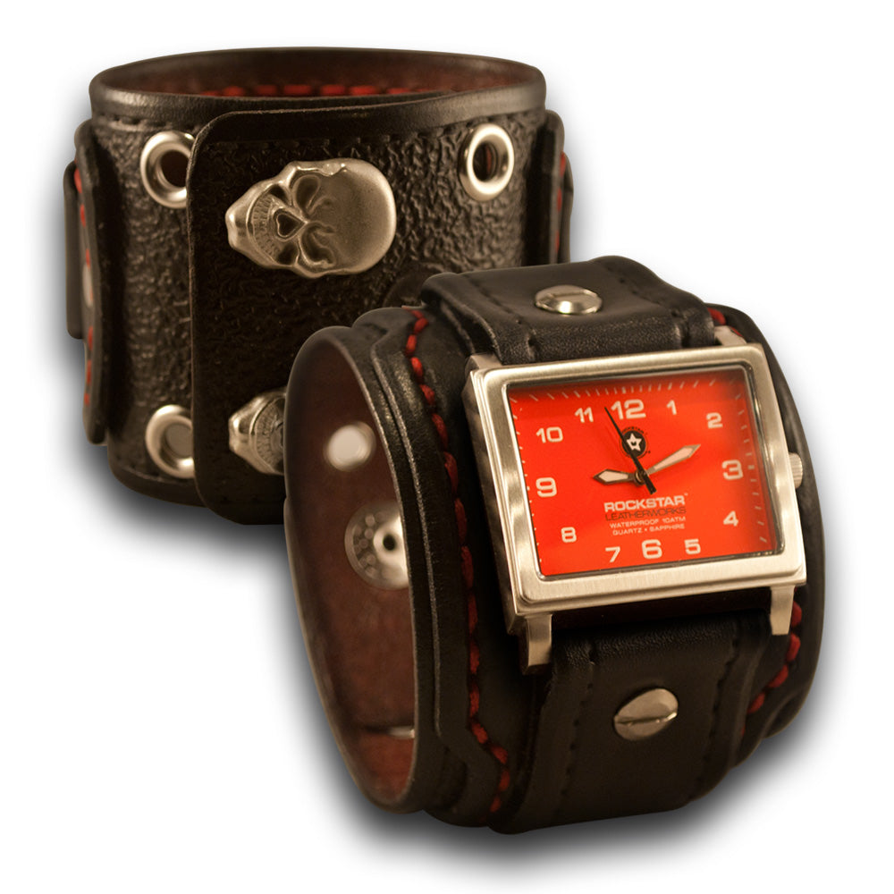 Black Drake Cuff Watch w/ 42mm Stainless, Eyelets & Skull Snaps-Leather Cuff Watches-Rockstar Leatherworks™