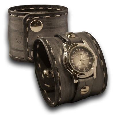 Silver and Black Wide Leather Cuff Watch with Stainless Snaps-Leather Cuff Watches-Rockstar Leatherworks™