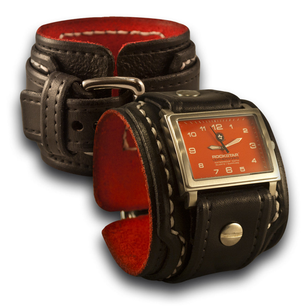 Black Drake Layered Leather Cuff Watch - 42mm Stainless Sapphire-Leather Cuff Watches-Rockstar Leatherworks™
