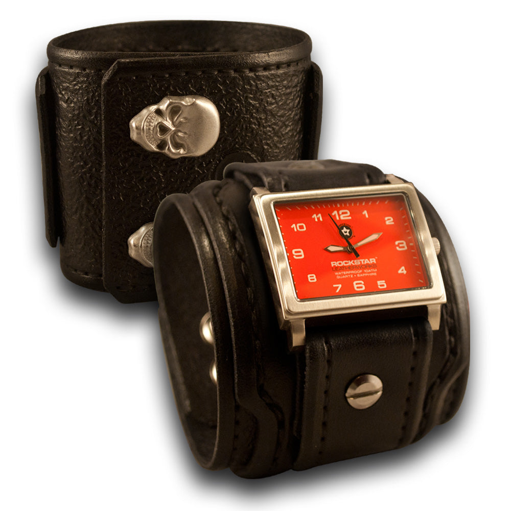 Black Drake Leather Cuff Watch with Red 42mm & Skull Snaps-Leather Cuff Watches-Rockstar Leatherworks™