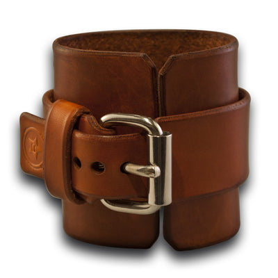 Rockstar Canyon Tan Leather Cuff Watch with White Face-Leather Cuff Watches-Rockstar Leatherworks™