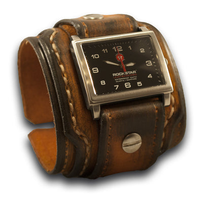 Range Tan Drake Leather Cuff Watch with 42mm Stainless, Sapphire-Leather Cuff Watches-Rockstar Leatherworks™