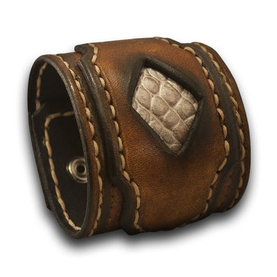 Brown Layered & Stitched Rockstar Leather Cuff Wristband with Inlay