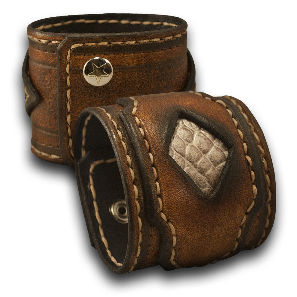 Brown Layered & Stitched Leather Cuff Wristband with Inlay