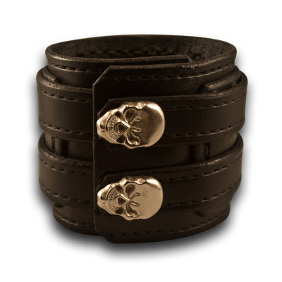 Black Drake Layered Double Strap Leather Cuff with Skull Snaps-Leather Cuffs & Wristbands-Rockstar Leatherworks™