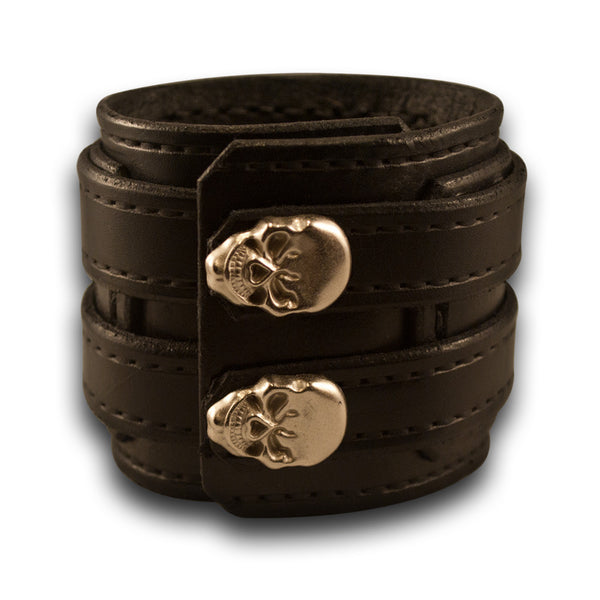 Black Drake Layered Double Strap Leather Cuff Wristband with Skull Snaps