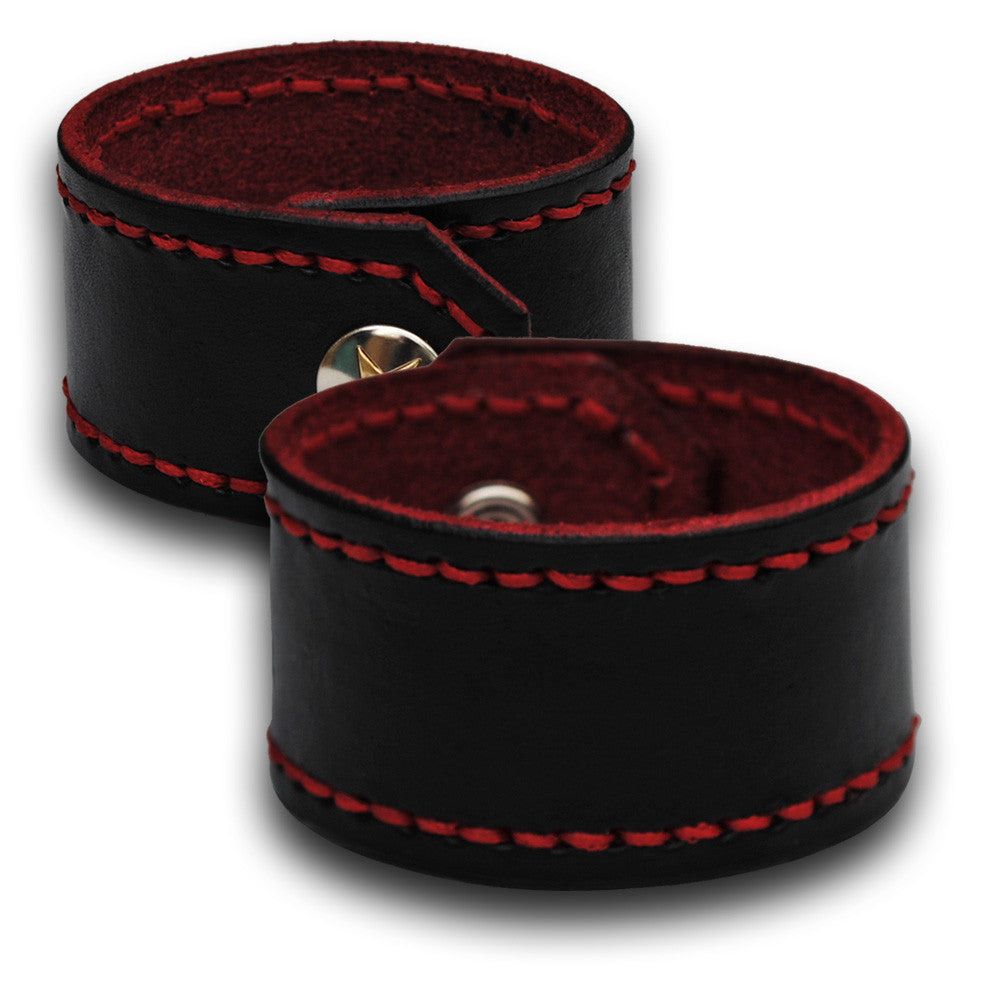 Black Leather Cuff Wristband with Red Stitching and Snap