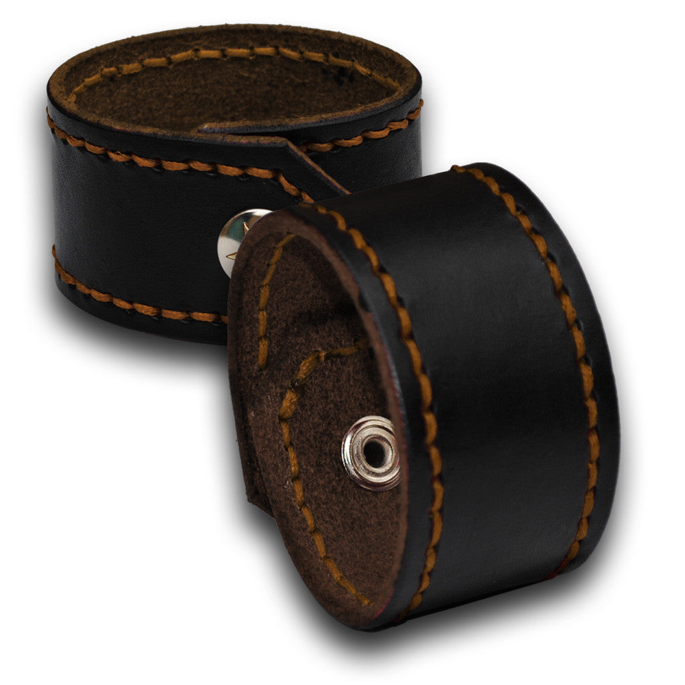 Black Leather Cuff Wristband with Rust Stitching & Snap-Leather Cuffs & Wristbands-Rockstar Leatherworks™