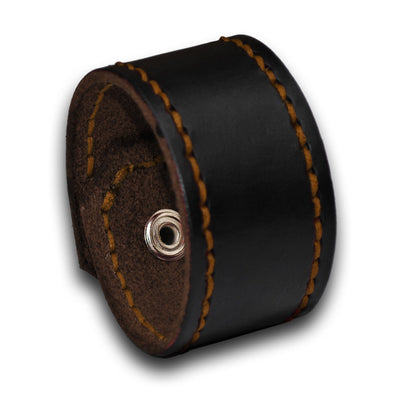 Black Leather Cuff Wristband with Rust Stitching & Snap