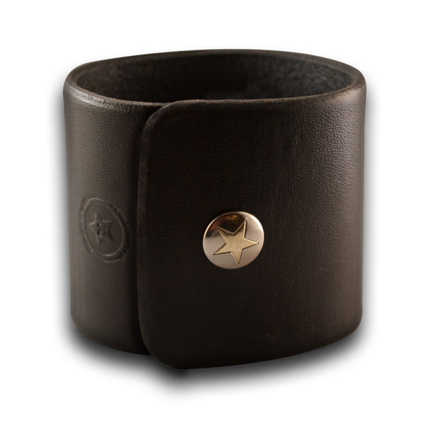 Black Wide Leather Cuff Wristband Bracelet with Snap