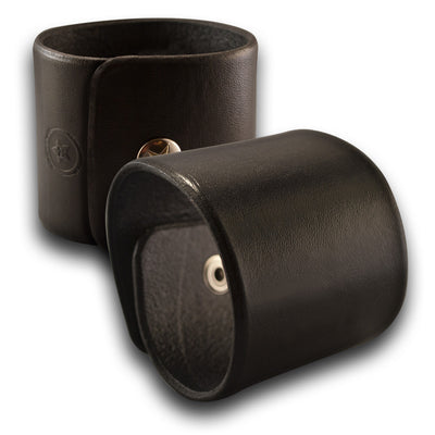 Black Wide Leather Cuff Wristband Bracelet with Snap-Leather Cuffs & Wristbands-Rockstar Leatherworks™