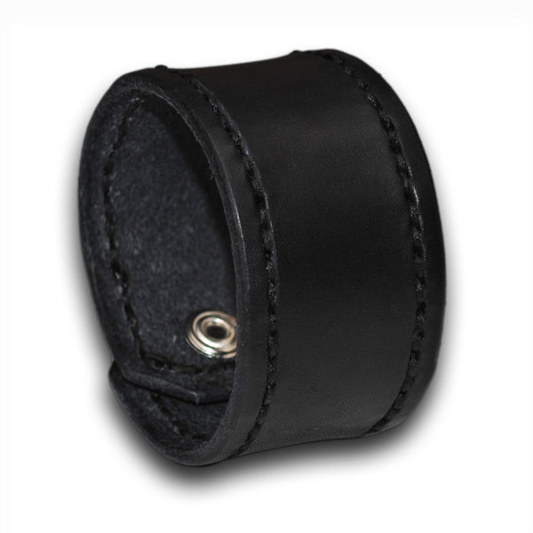 Black Leather Cuff Wristband with Black Stitching and Rockstar Snap