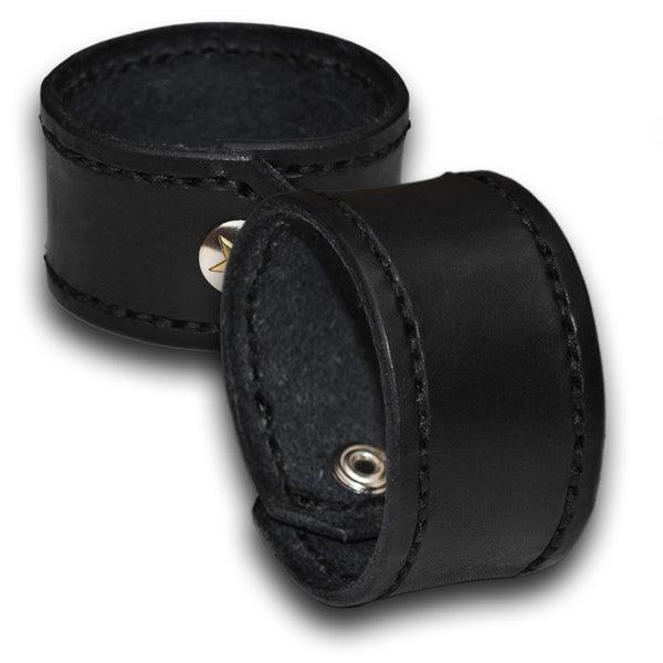 Black Leather Cuff Wristband with Black Stitching and Snap