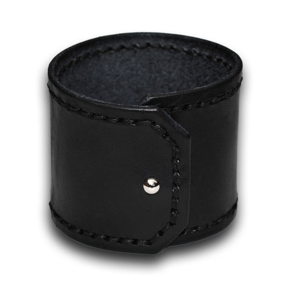 Wide Black Leather Cuff Wristband with Black Stitching