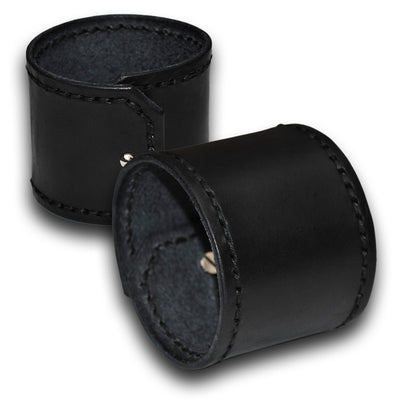 Wide Black Leather Cuff Wristband with Black Stitching-Leather Cuffs & Wristbands-Rockstar Leatherworks™