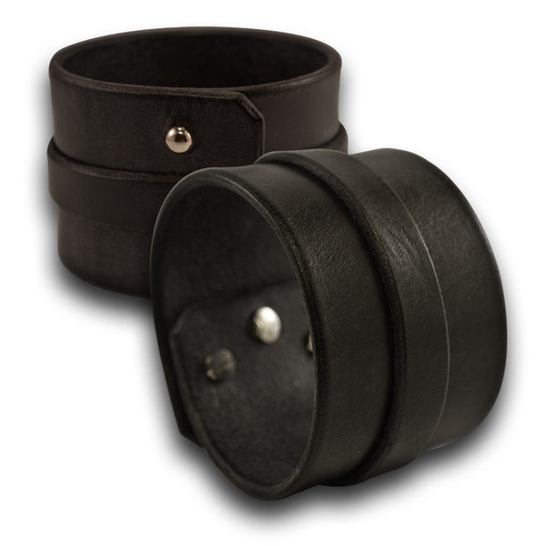 Black Wide Double Strap Leather Cuff Wristband with Studs