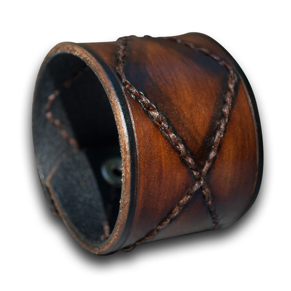 Brown Stressed Leather Cuff Wristband with Hand Stitching & Snap