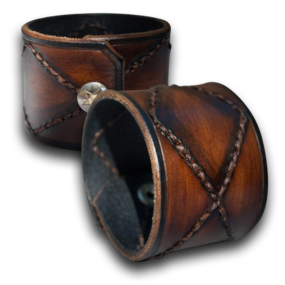 Brown Stressed Leather Cuff Wristband with Hand Stitching & Snap-Leather Cuffs & Wristbands-Rockstar Leatherworks™