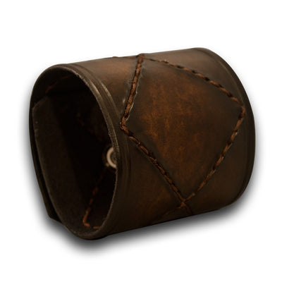 Timber Brown Stressed Leather Cuff with Brown Stitching & Snap-Leather Cuffs & Wristbands-Rockstar Leatherworks™