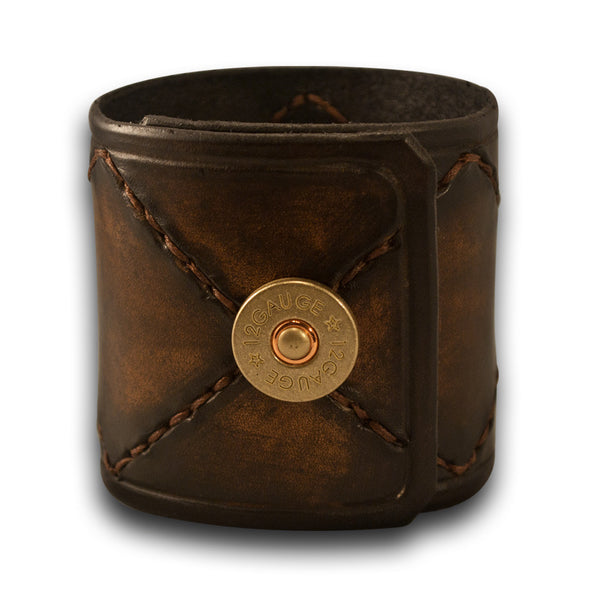 Timber Brown Stressed Leather Cuff with Brown Hand Stitching & Snap