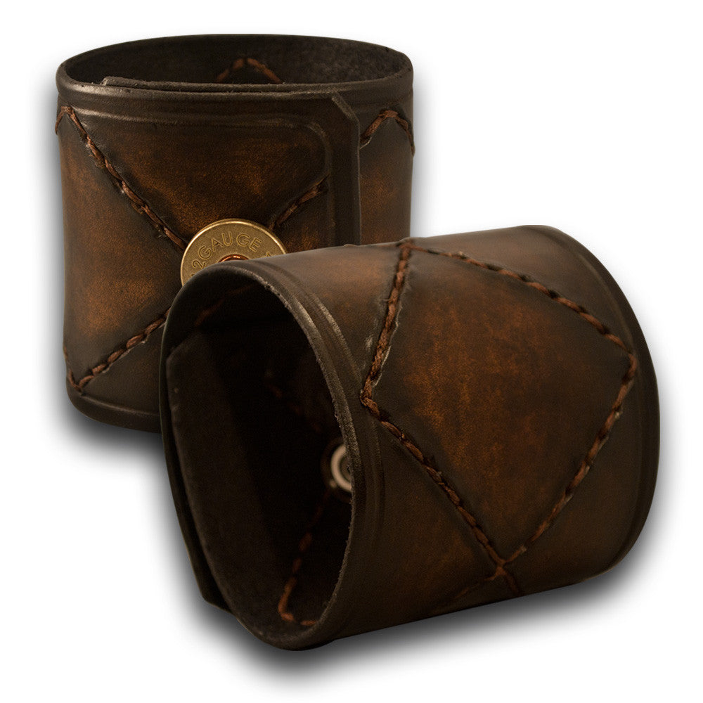 Timber Brown Stressed Leather Cuff with Brown Stitching & Snap