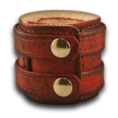 Scarlet Layered Drake Leather Double Strap Cuff with Snaps-Leather Cuffs & Wristbands-Rockstar Leatherworks™