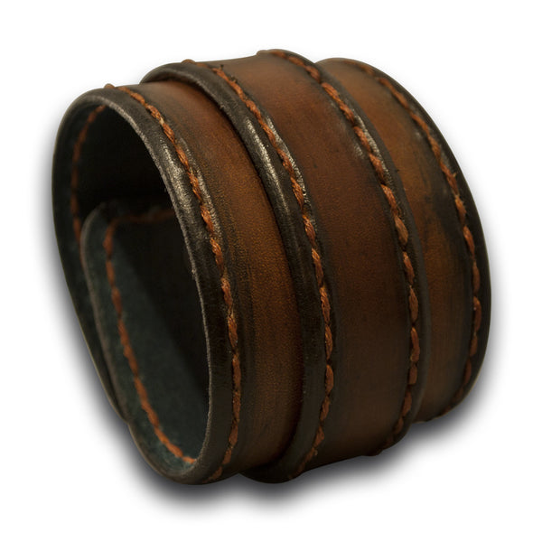 Brown Stressed Leather Double Strap Wristband Stitched & Celtic Snap