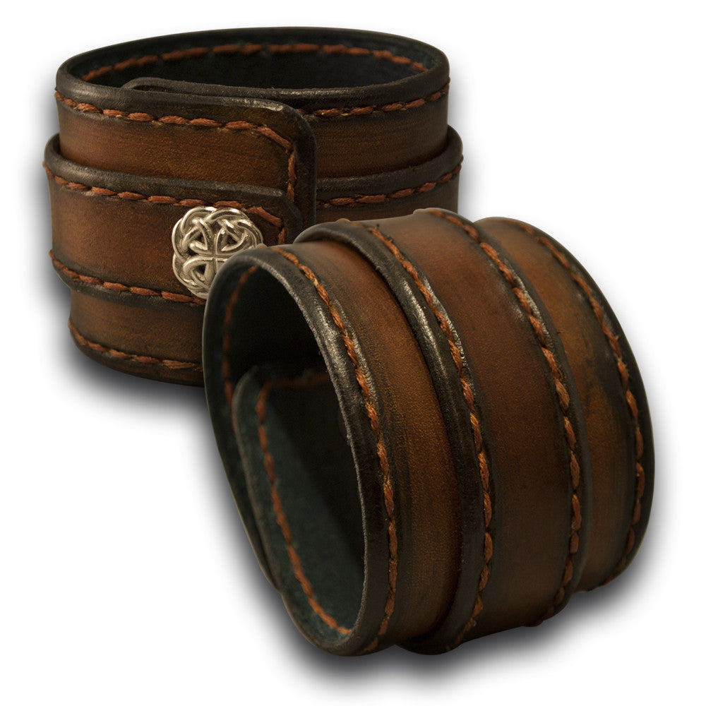 Brown Stressed Leather Double Strap with Stitching & Celtic Snap-Leather Cuffs & Wristbands-Rockstar Leatherworks™