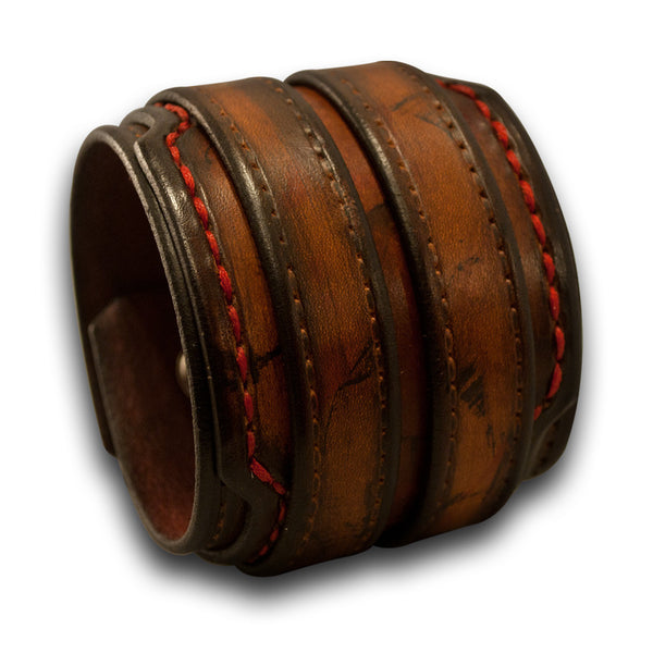 Leather Double Strap Cuff Wristband with Layered Cuff & Skull Snaps