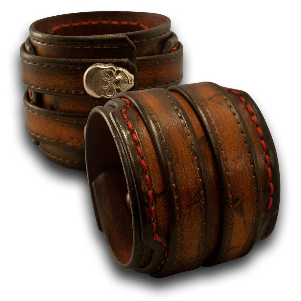 Leather Double Strap Cuff with Layered Cuff & Skull Snaps