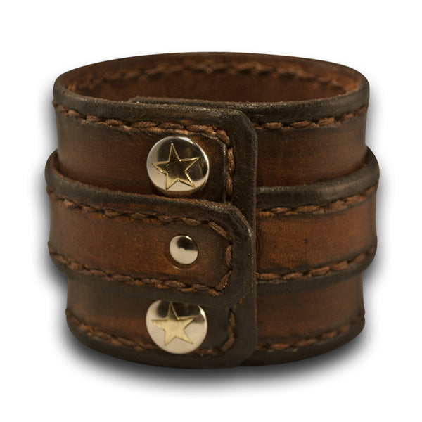 Brown Stressed Double Strap Leather Cuff Wristband with Snaps