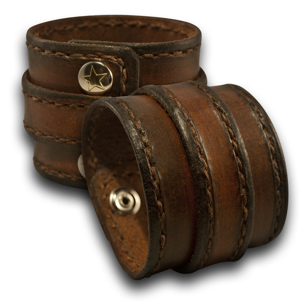 Brown Stressed Double Strap Leather Cuff with Stitching & Snaps