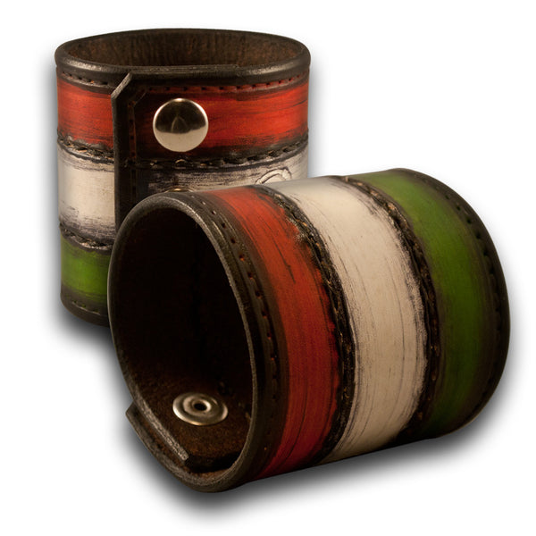 Italian Flag Leather Cuff Wristband, Red, White & Green Hand Stitched
