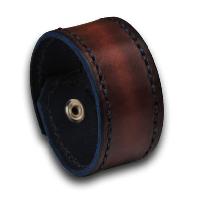 Mahogany Leather Cuff Wristband with Blue Stitching and Snap-Leather Cuffs & Wristbands-Rockstar Leatherworks™