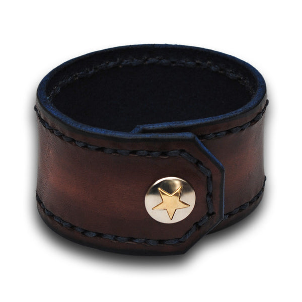 Mahogany Leather Cuff Wristband with Blue Stitching and Snap