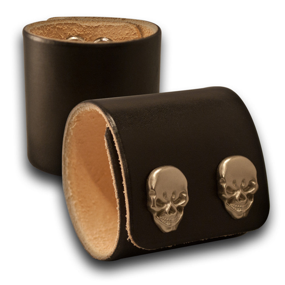 Black Leather Cuff Wristband with Skull Snaps