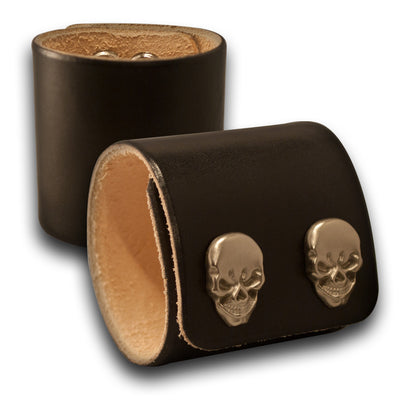 Black Leather Cuff Wristband with Skull Snaps-Leather Cuffs & Wristbands-Rockstar Leatherworks™