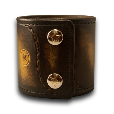 Mahogany, Yellow and Black Stressed Leather Cuff Wristband with Snaps
