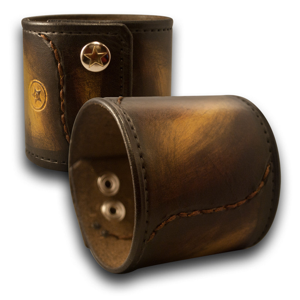 Mahogany, Yellow & Black Stressed Leather Cuff with Star Snaps-Leather Cuffs & Wristbands-Rockstar Leatherworks™