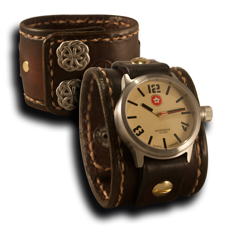 Medium Brown Stressed Leather Cuff Watch Stainless 42MM Sapphire