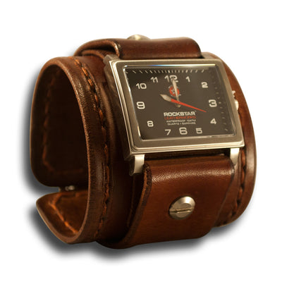 Medium Brown Leather Cuff Watch - Stainless 42mm / Sapphire-Leather Cuff Watches-Rockstar Leatherworks™