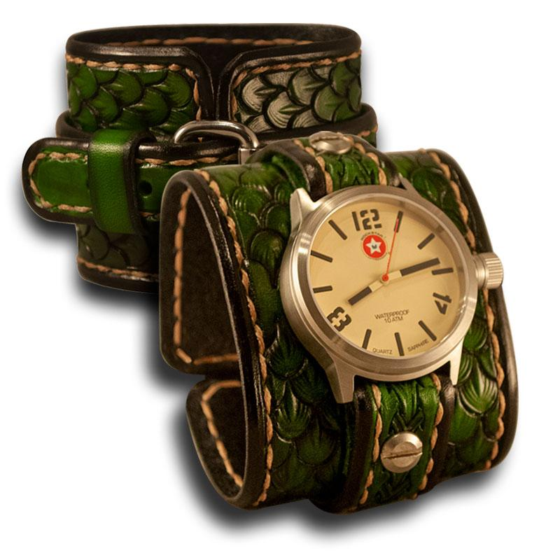 Green Dragon Scale Leather 42mm Cuff Watch-Leather Cuff Watches-Rockstar Leatherworks™