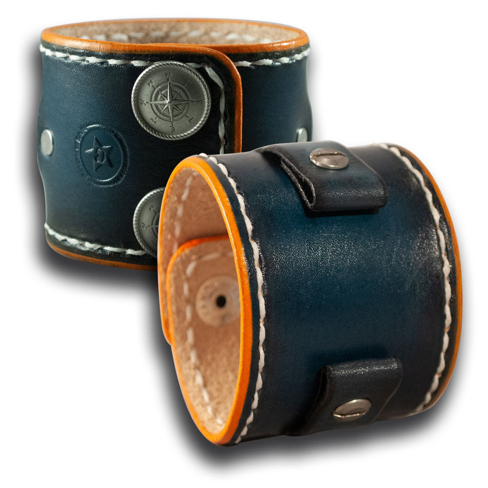 Navy Blue & Orange Leather Cuff Watch Band with Snaps-Custom Handmade Leather Watch Bands-Rockstar Leatherworks™