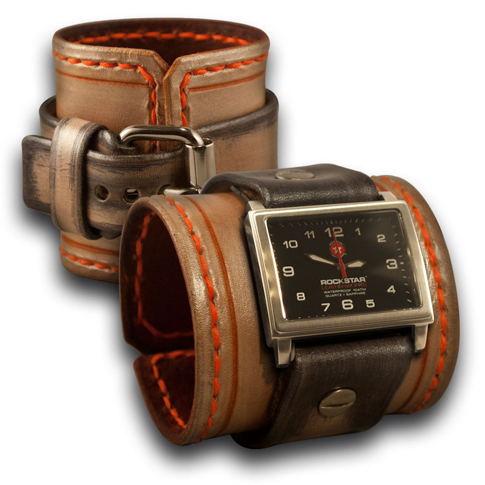 Pearl, Silver & Orange Leather Cuff Watch with Orange Stitching-Leather Cuff Watches-Rockstar Leatherworks™