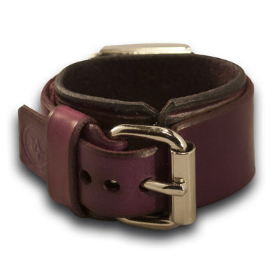 Purple Leather Cuff Watch with Red Watch Face - Rockstar Leatherworks