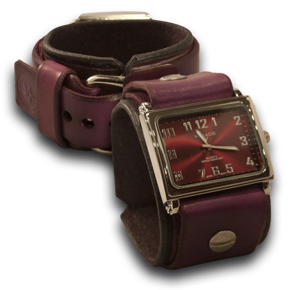 Purple Leather Cuff Watch with Red Watch Face
